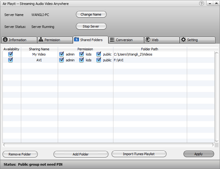 Click to view Air Playit Server 1.5 screenshot